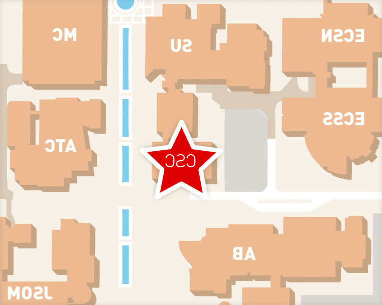 campus map highlighting the OCSC office