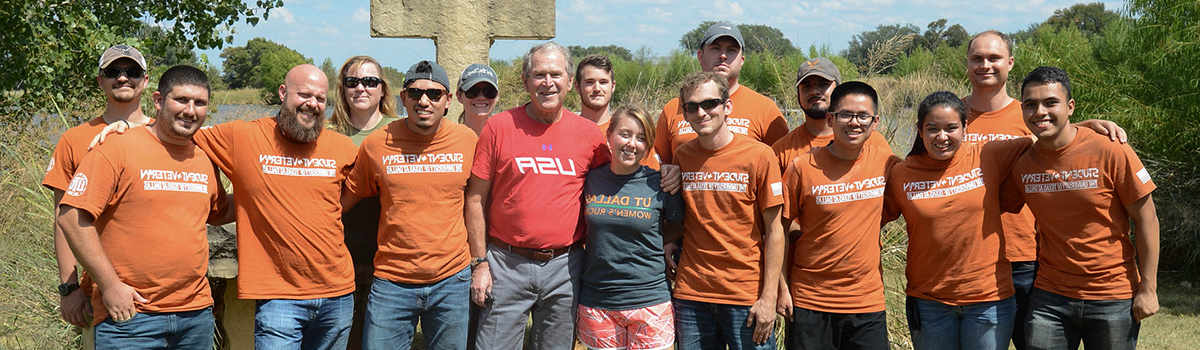 student vets with George W. Bush